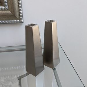 Pottery Barn chrome/ stainless steel candleholders